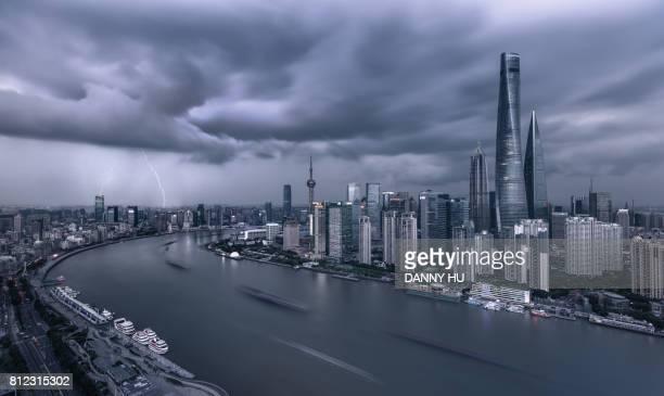 shanghai skyline with lightning