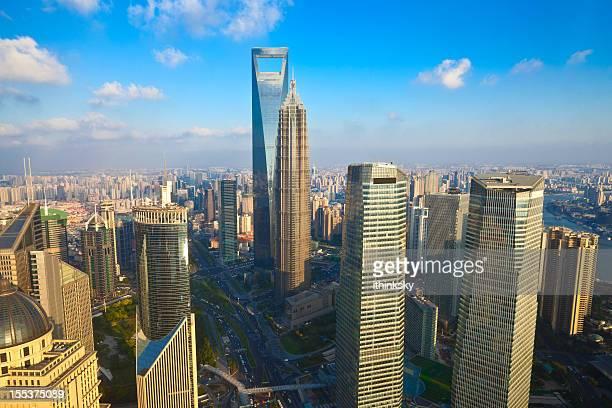 horizonte de xangai, china - shanghai world financial center - fotografias e filmes do acervo