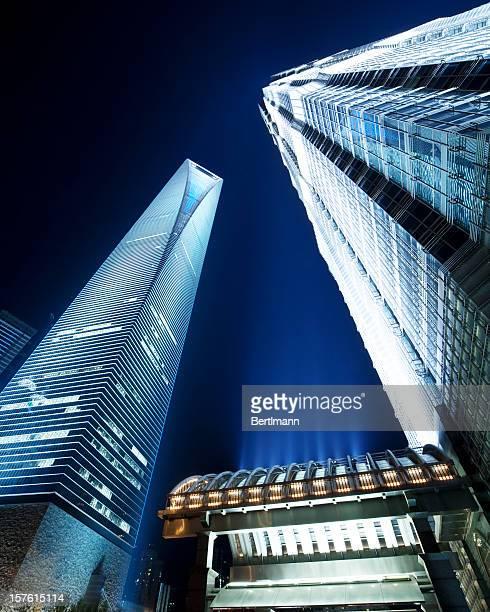 shanghai skyscraper by night
