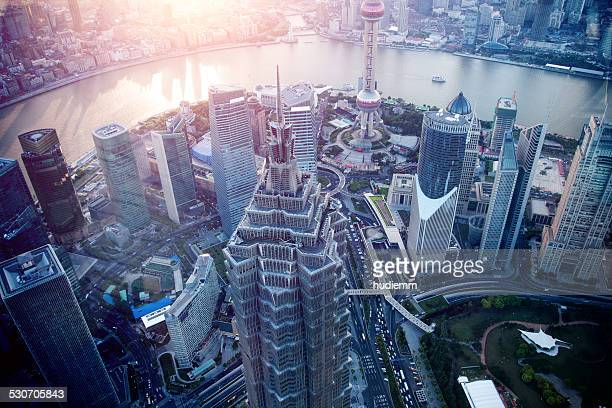 Shanghai skyscraper with financial district in China