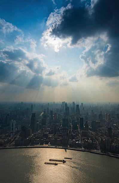 Shanghai Sunbeams Over The Bund And Huangpu River China Wall Art
