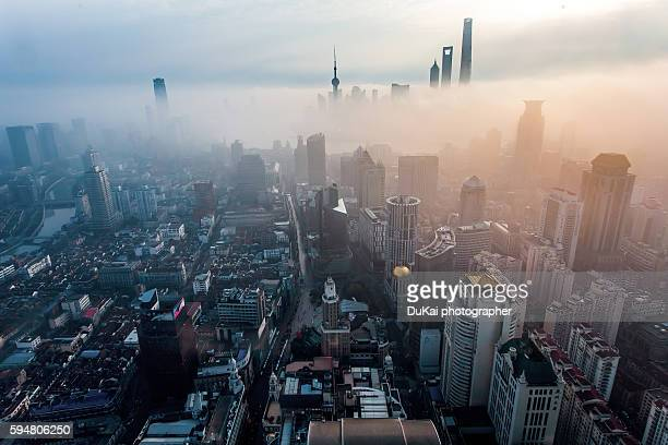 shanghai sunrise - carbon dioxide stock pictures, royalty-free photos & images