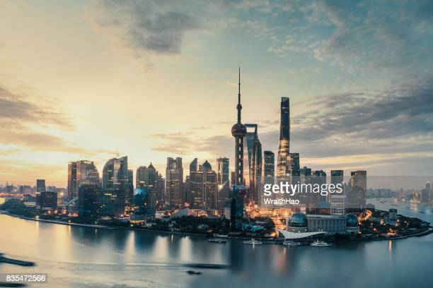 shanghai sunrise - the bund stock photos and pictures