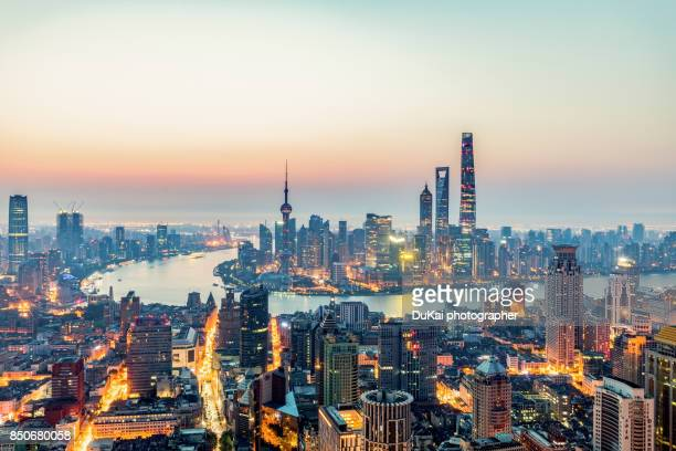 shanghai sunrise - oriental pearl tower shanghai stock pictures, royalty-free photos & images