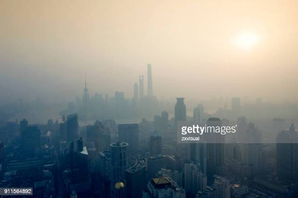 shanghai sunrise - smog stock pictures, royalty-free photos & images