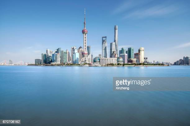 Shanghai, The Bund, Financial District Skyline including Huangpu River