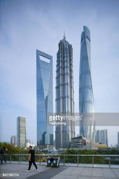 Shanghai Top 3 highest building at Pudong district,China.shot by tilt shift lens