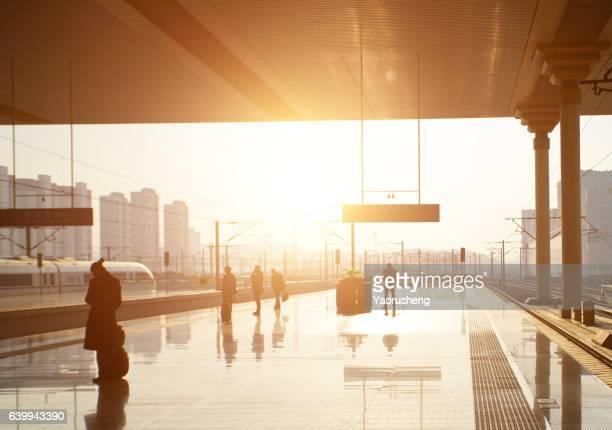Shanghai train station in sunset