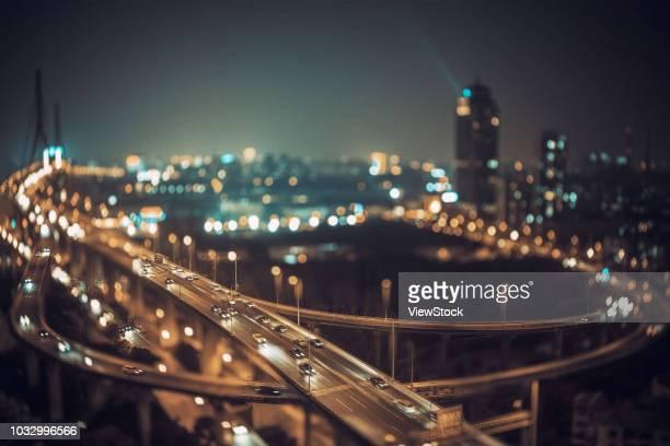 shanghai urban construction at night - 高架道路 ストックフォトと画像