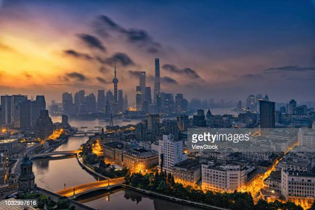 shanghai urban construction - lujiazui stock pictures, royalty-free photos & images