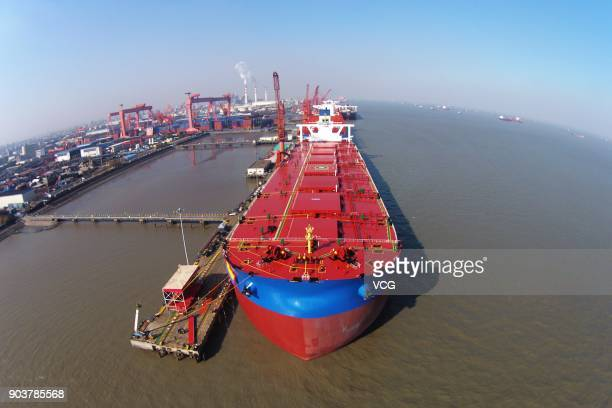 Shanghai Waigaoqiao Shipbuilding Co Ltd delivers its secondgeneration very large ore carrier Yuanhehai on January 11 2018 in Shanghai China The...