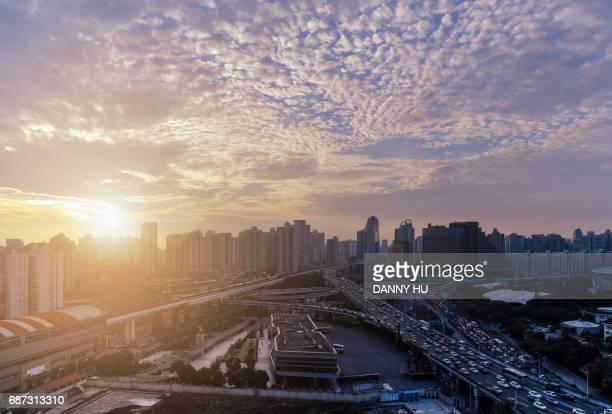 shanghai xuhui CBD at dusk