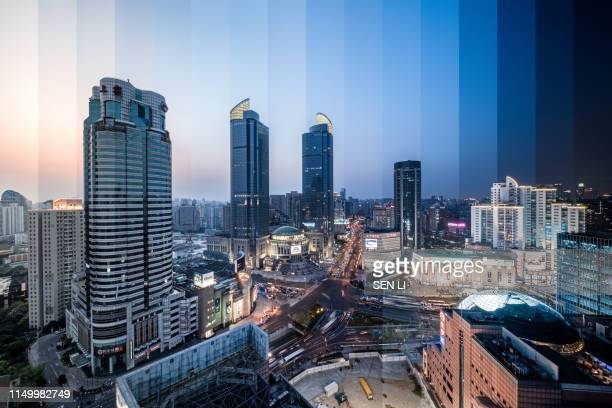 Shanghai Xujiahui Financial Center Cityscape, at the Dusk, From Sunset to Night