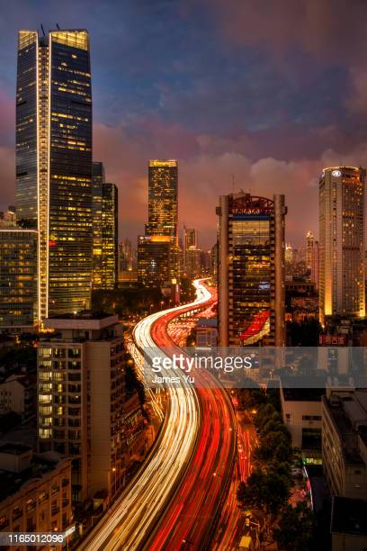 shanghai yanan highway - road junction stock pictures, royalty-free photos & images