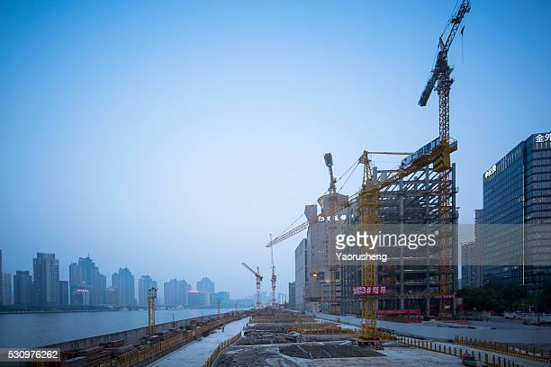 Shanghai,China-April 29,2016:Construction site at Shanghai bund area.More and more new buildings came out from 2000.