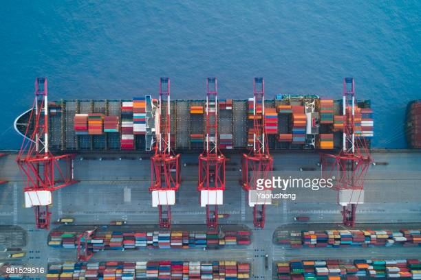 Shanghai,China-Nov 26,2017:aerial view of container ship parking at  Yangshan Shanghai Deepwater Container Port,which is the world most busy container port