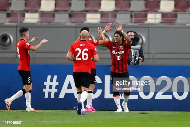 Shanghai's forward Hulk celebrates his goal during the AFC Champions League Group H match between Jeonbuk Hyundai Motors and Shanghai SIPG at the...