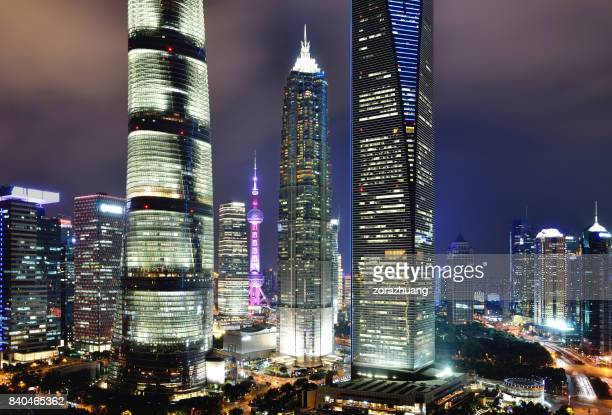 Shanghai's Lujiazui Financial District at Night, China