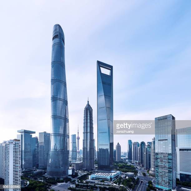 shanghai's lujiazui financial district, china - lujiazui stock photos and pictures
