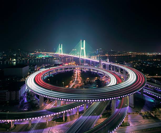 Shanghai's Nanpu bridge illuminated at night
