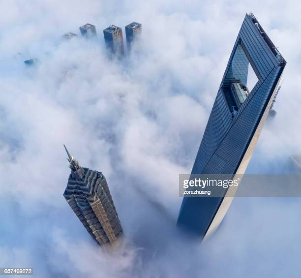 Shanghai's skyscraper in the thick fog
