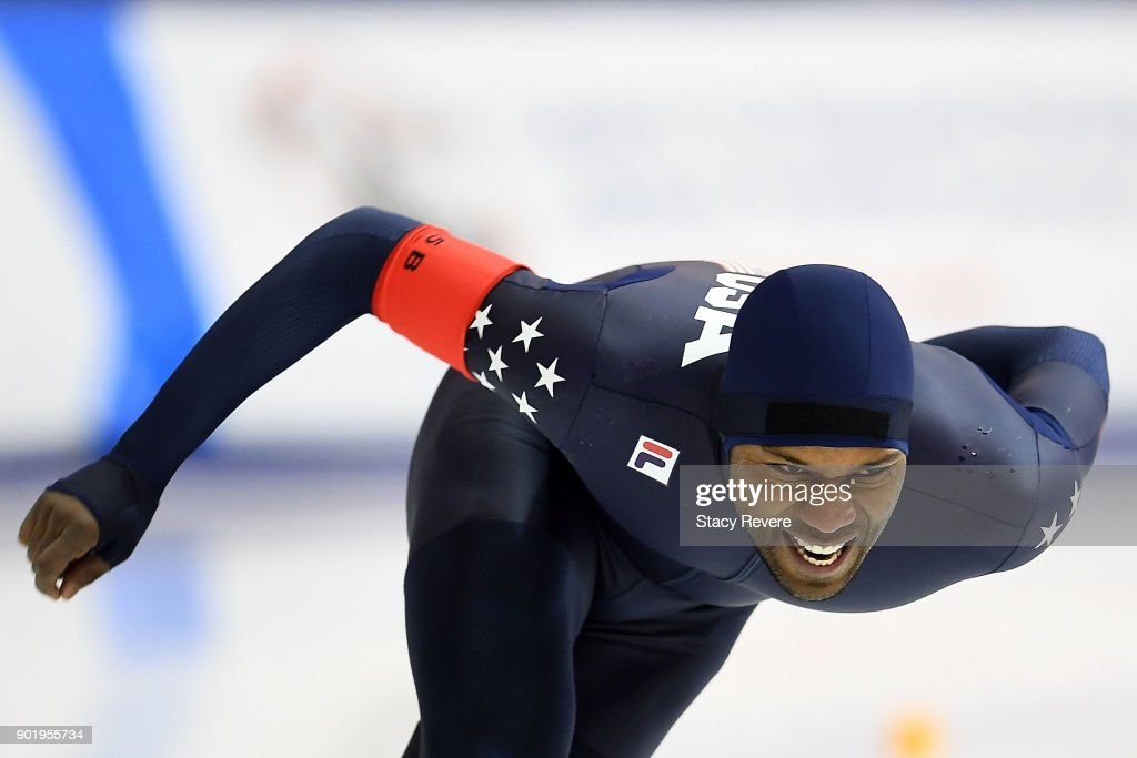 Shani Davis competes in the Men's 1500 meter event during the Long Track Speed Skating Olympic Trials at the Pettit National Ice Center on January 6, 2018 in Milwaukee, Wisconsin.