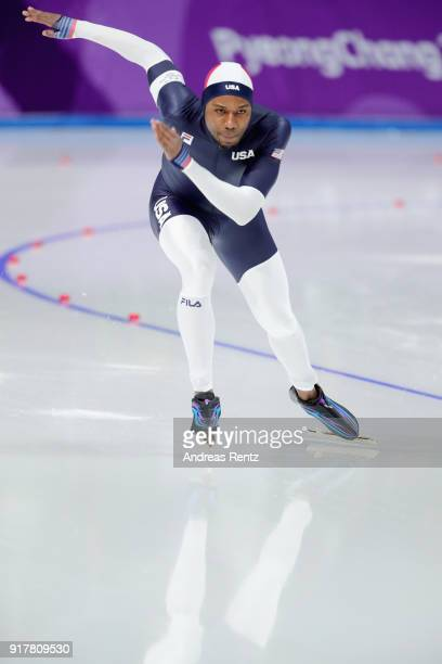 Shani Davis of the United States competes during the Men's 1500m Speed Skating on day four of the PyeongChang 2018 Winter Olympic Games at Gangneung...