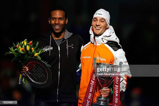 Shani Davis of USA and Kjeld Nuis of Netherlands who won the 1000m Men Division A World Cup pose on Day 2 of the Essent ISU World Cup Speed Skating...