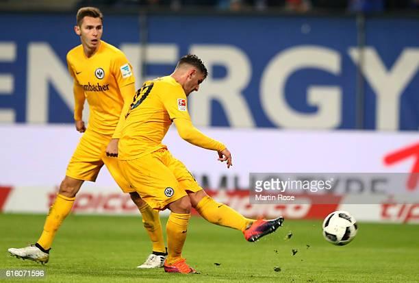 Shani Tarashaj of Frankfurt scores his team's 2nd goal during the Bundesliga match between Hamburger SV and Eintracht Frankfurt at Volksparkstadion...
