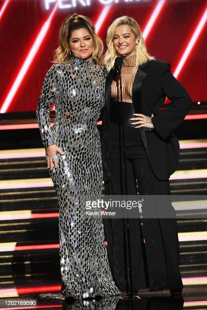 Shania Twain and Bebe Rexha speak onstage during the 62nd Annual GRAMMY Awards at STAPLES Center on January 26 2020 in Los Angeles California