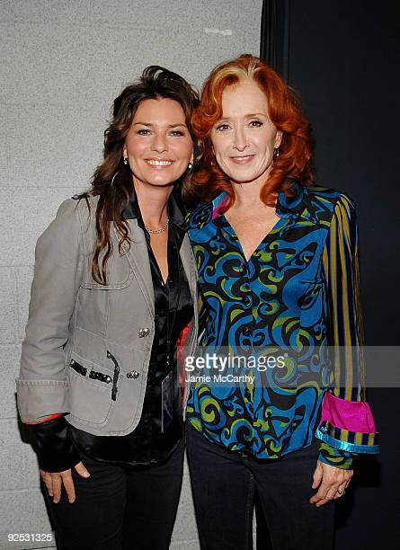 *EXCLUSIVE* Shania Twain and Bonnie Raitt attend the 25th Anniversary Rock Roll Hall of Fame Concert at Madison Square Garden on October 29 2009 in...