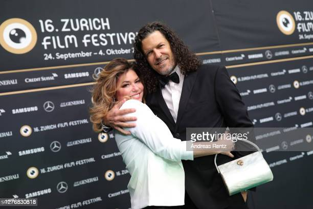 """Shania Twain and her husband Frederic Thiebaud attend the """"Who you gonna call"""" photocall during the 16th Zurich Film Festival at Kino Corso on..."""