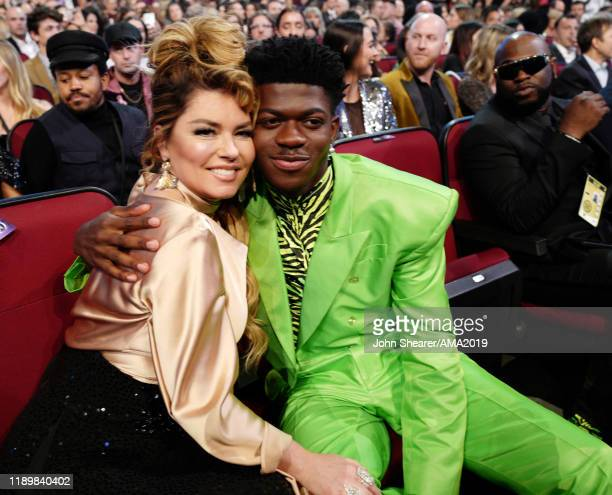 Shania Twain and Lil Nas X attend the 2019 American Music Awards at Microsoft Theater on November 24 2019 in Los Angeles California