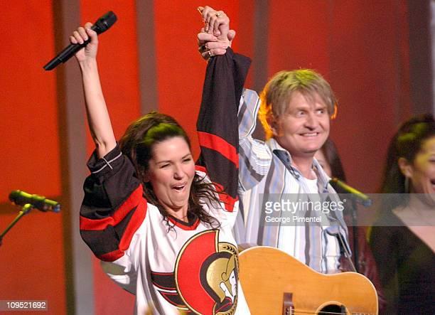 Shania Twain and Tom Cochrane during 2003 Juno Awards Show at Corel Centre in Ottawa Ontario Canada