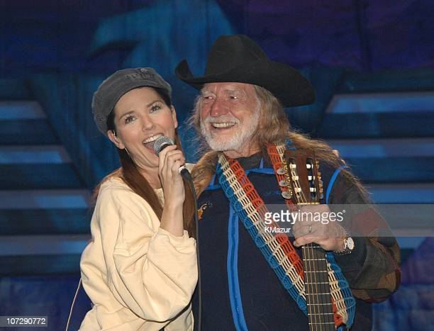 Shania Twain and Willie Nelson during Willie Nelson and Friends Live and Kickin' Premiers on USA Network on May 26 2003 Rehearsal and Backstage at...