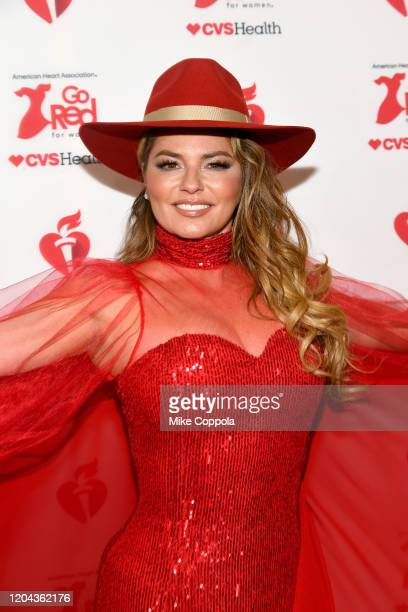 Shania Twain attends the American Heart Association's Go Red for Women Red Dress Collection 2020 at Hammerstein Ballroom on February 05 2020 in New...
