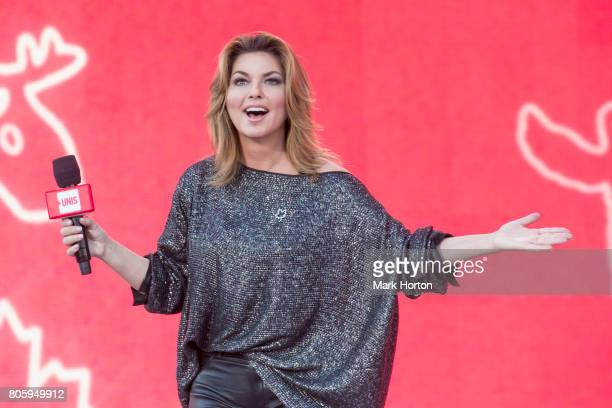 Shania Twain delivers remarks at We Day Canada at Parliament Hill on July 2 2017 in Ottawa Canada