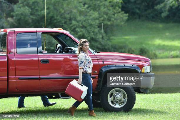 Shania Twain is on the set of the movie Trading Paint on September 1 2017