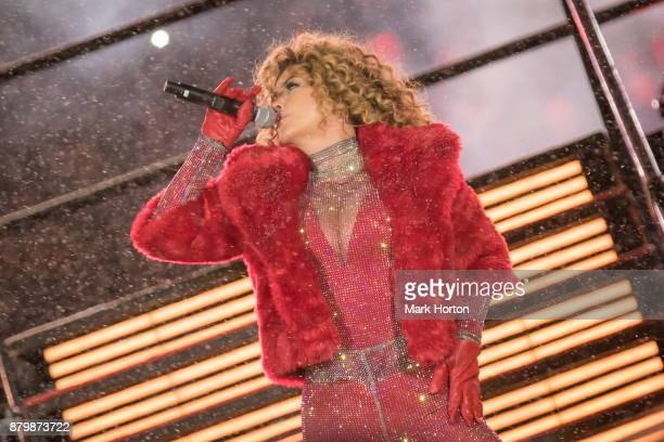 Shania Twain performs during the halftime show at the 105th Grey Cup Championship Game between the Toronto Argonauts and the Calgary Stampeders at TD...