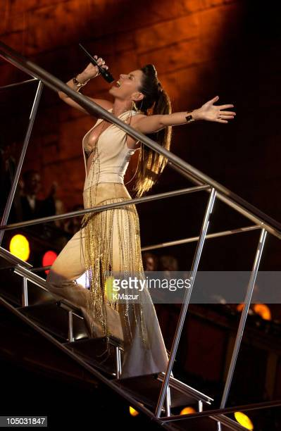 Shania Twain performs her medley of 'I'm Gonna Getcha Good' and 'Up' at the 30th Annual American Music Awards