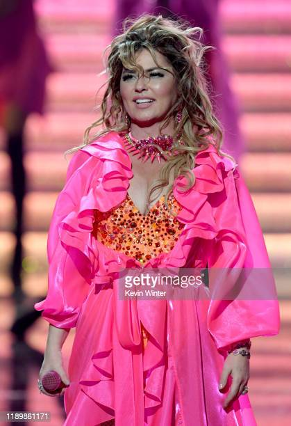 Shania Twain performs onstage during the 2019 American Music Awards at Microsoft Theater on November 24 2019 in Los Angeles California