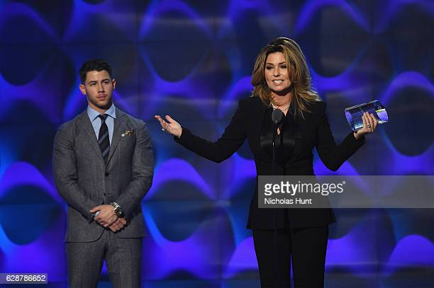 Shania Twain speaks on stage at the Billboard Women in Music 2016 event on December 9 2016 in New York City