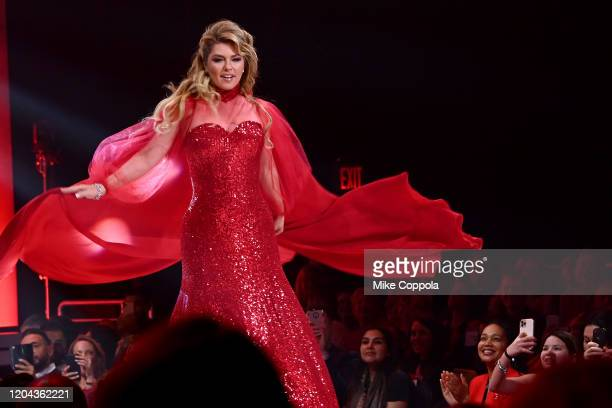 Shania Twain walks the runway at the American Heart Association's Go Red for Women Red Dress Collection 2020 at Hammerstein Ballroom on February 05...