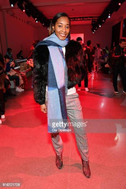 Shaniah Mauldin attends the Just In XX presentation during New York Fashion Week: The Shows at Gallery II at Spring Studios on February 9, 2018 in...
