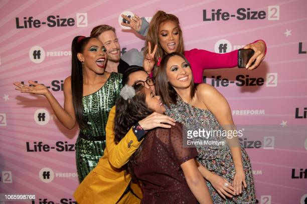 Shanica Knowles Gavin Stenhouse Tyra Banks Hank Chen Allison Fernandez and Francia Raisa attend the premiere of 'Life Size 2' at Hollywood Roosevelt...