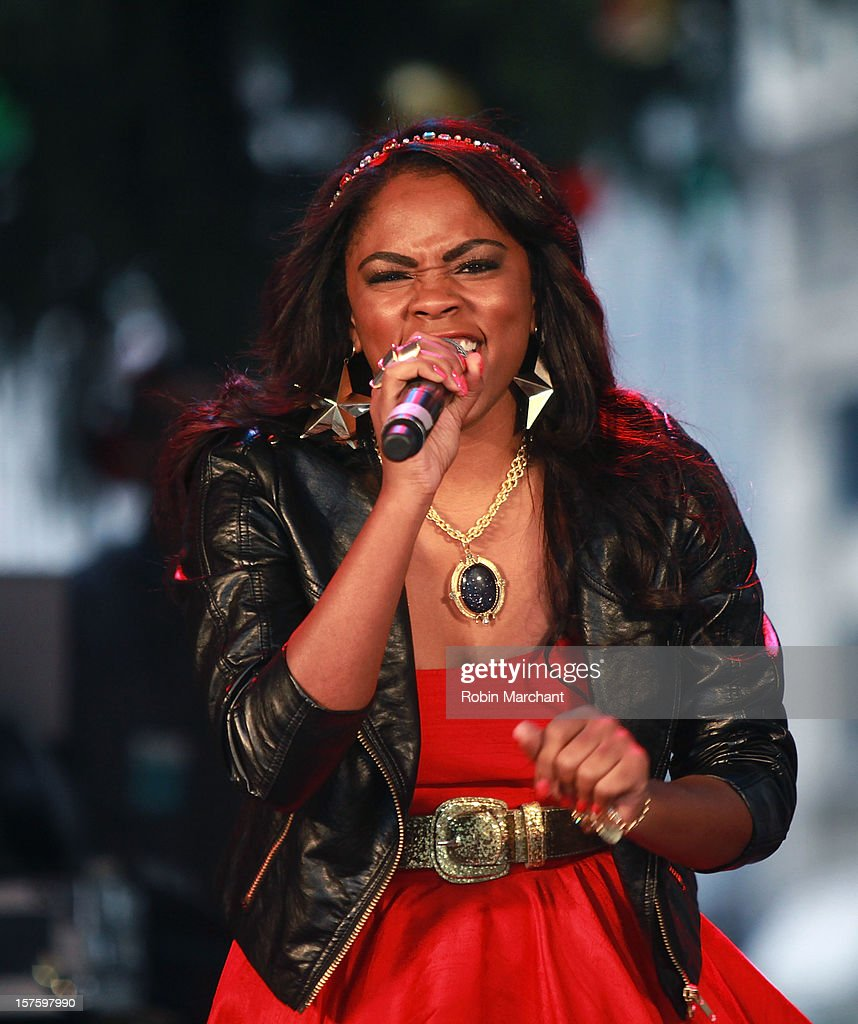Shanica Knowles of Rock Star Madness Band performs at NYSE Euronext 89th Annual NYSE Christmas Tree Lighting Celebration at New York Stock Exchange on December 4, 2012 in New York City.