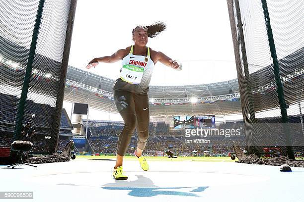 Shanice Craft of Germany competes during the Women's Discus Throw Final on Day 11 of the Rio 2016 Olympic Games at the Olympic Stadium on August 16...