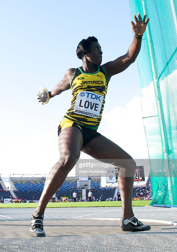 Shanice Love from Jamaica competes in women's discus throw qualification round during the IAAF World U20 Championships - Day 1 at Zawisza Stadium on July 19, 2016 in Bydgoszcz, Poland.