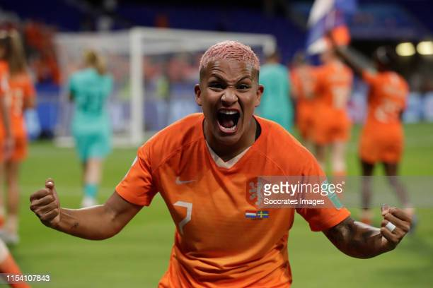 Shanice van de Sanden of Holland Women Celebrating the victory during the World Cup Women match between Holland v Sweden at the Stade de Lyon on July...