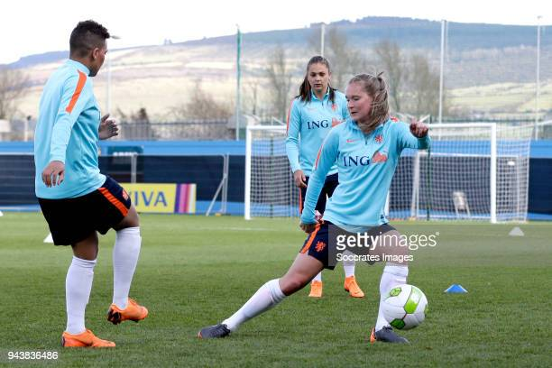 Shanice van de Sanden of Holland Women, Desiree van Lunteren of Holland Women during the Training Holland Women at the Tallaght Stadium on April 9,...